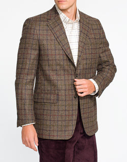 BROWN MULTI WINDOWPANE SPORT COAT - CLASSIC FIT