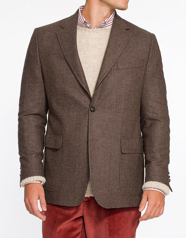 BROWN MINI CHECK TAILGATE SPORT COAT - CLASSIC FIT