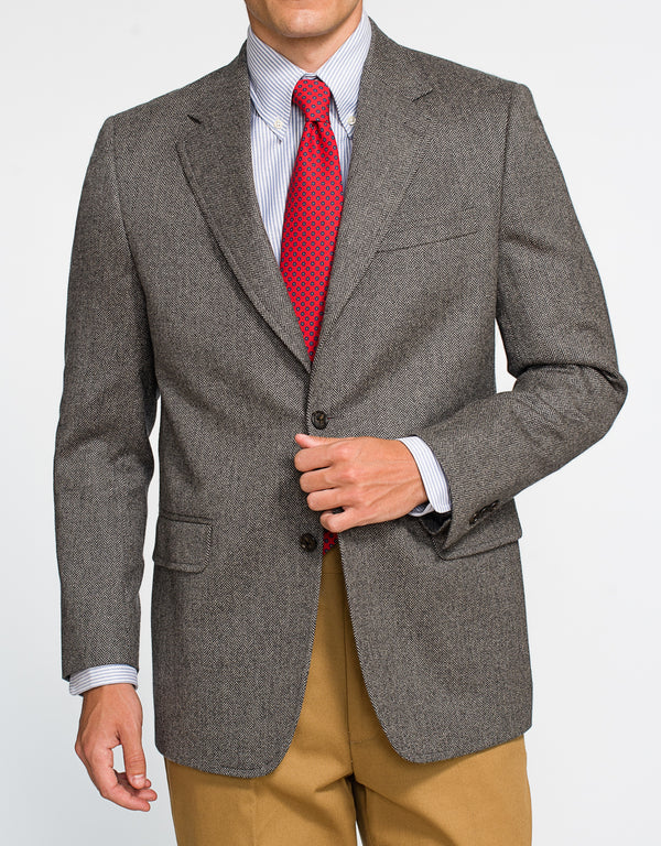 GREY HERRINGBONE CASHMERE SPORT COAT - CLASSIC FIT