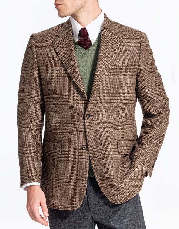 BROWN TAN PLAID CASHMERE SPORT COAT - CLASSIC FIT