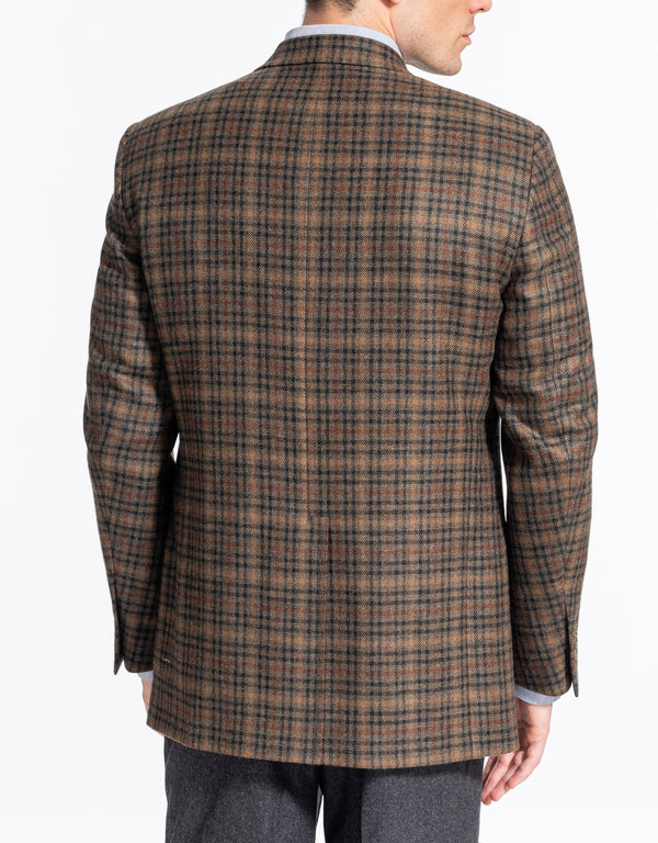 OLIVE CHECK MULTIPANE CASHMERE SPORT COAT - CLASSIC FIT