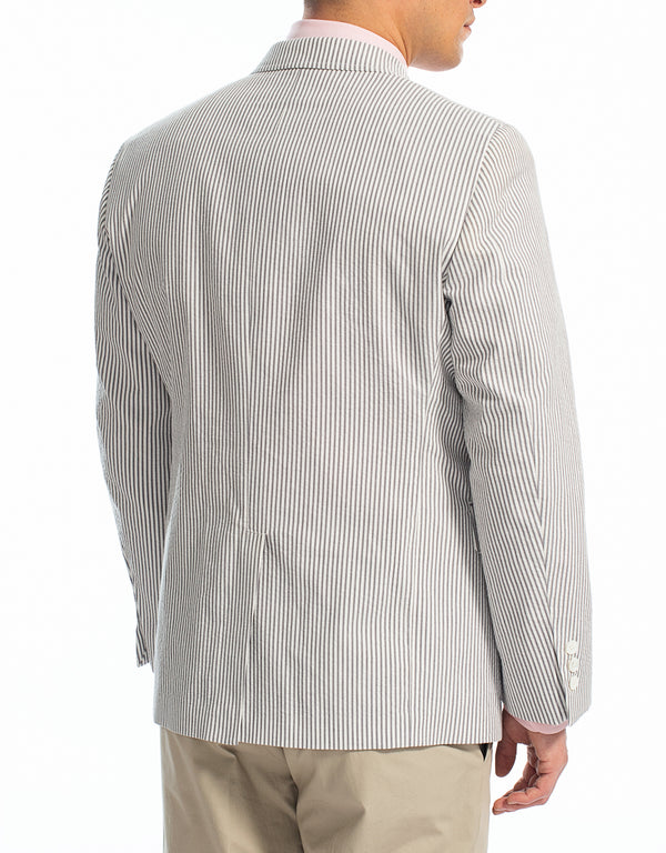 GREY WHITE COTTON SEERSUCKER SPORT COAT
