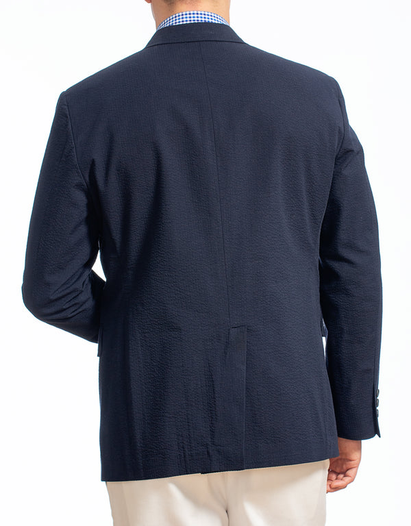NAVY COTTON SEERSUCKER SPORT COAT