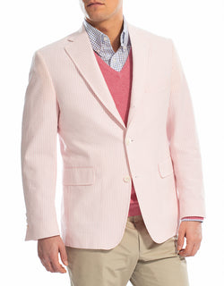 J. PRESS PINK WHITE COTTON SEERSUCKER SPORT COAT