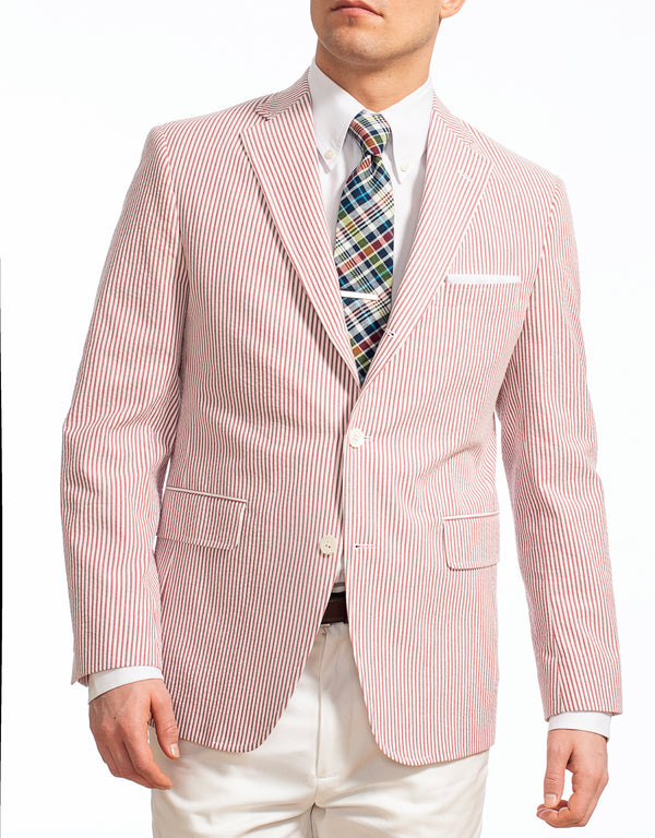 RED WHITE COTTON SEERSUCKER SPORT COAT - CLASSIC FIT