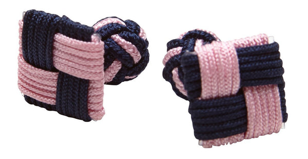 Silk Knots Square Navy Pink