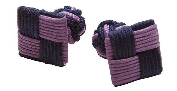 SILK KNOTS SQUARE - NAVY/LIGHT PURPLE