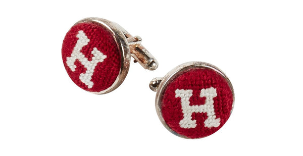 HARVARD UNIVERSITY NEEDLEPOINT CUFFLINKS