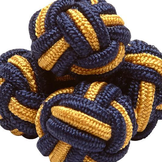 Silk Knots Round Navy Gold
