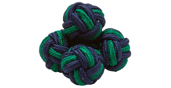 SILK KNOTS ROUND - NAVY/GREEN