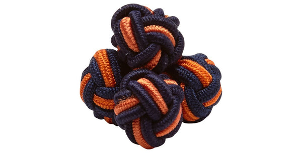 SILK KNOTS ROUND - NAVY/ORANGE
