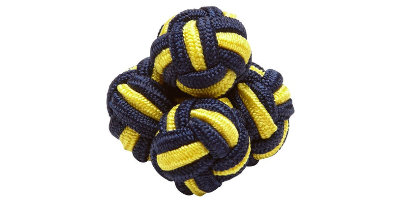 SILK KNOTS ROUND - NAVY/YELLOW