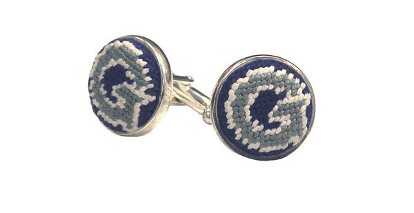 GEORGETOWN UNIVERSITY NEEDLEPOINT CUFFLINKS