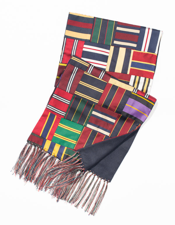 J. PRESS SILK REPP PATCHWORK SCARF