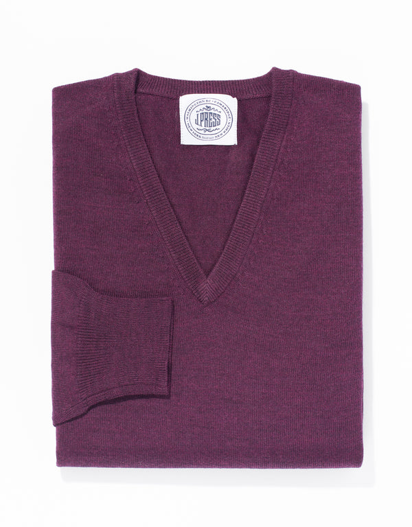 PURPLE MERINO WOOL V NECK SWEATER
