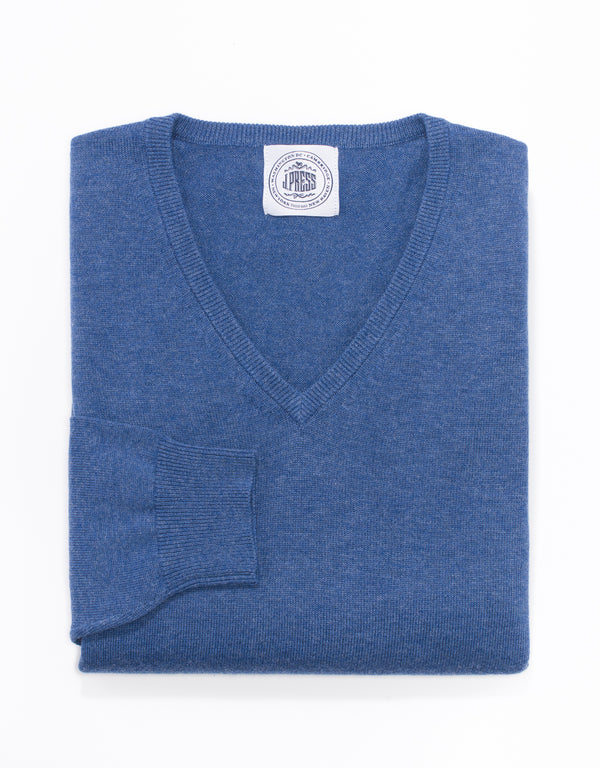 J. PRESS COTTON CASHMERE V-NECK SWEATER - BLUE