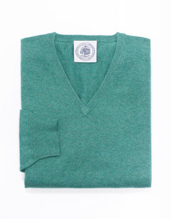 J. PRESS COTTON CASHMERE V-NECK SWEATER - GREEN