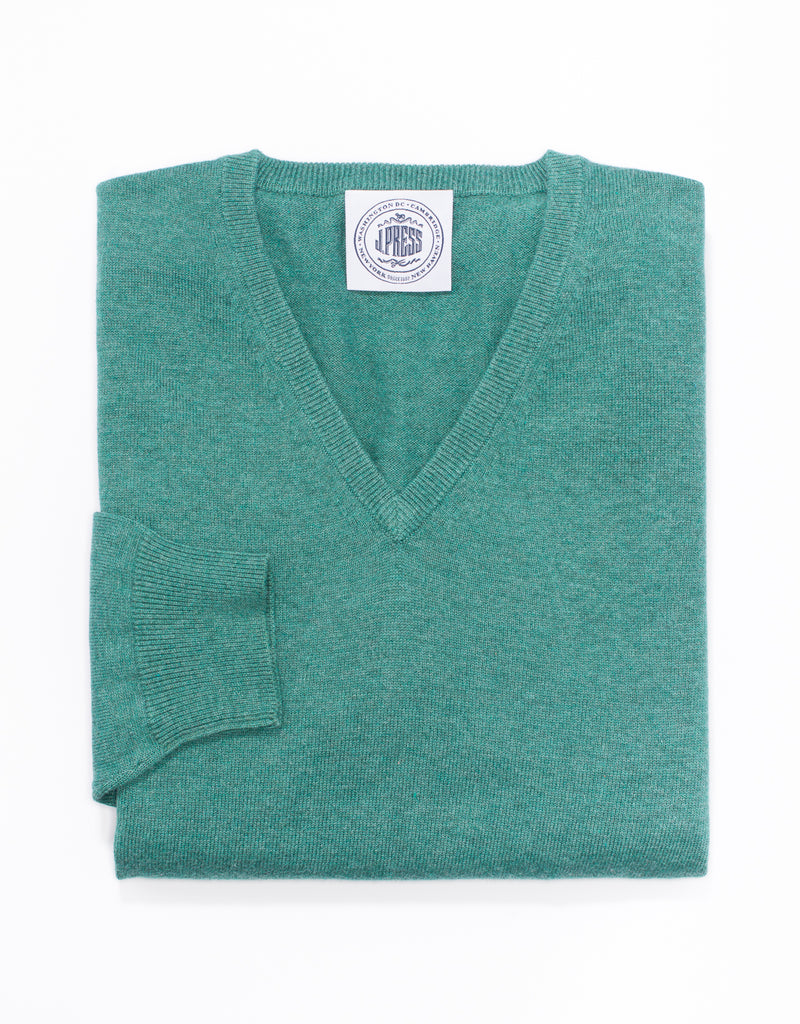 COTTON CASHMERE V-NECK SWEATER - GREEN