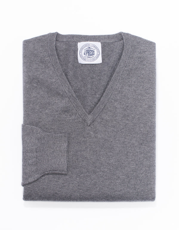 GREY COTTON CASHMERE V-NECK SWEATER