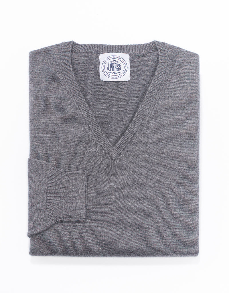 COTTON CASHMERE V-NECK SWEATER-GREY