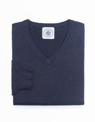 COTTON CASHMERE V-NECK SWEATER - NAVY