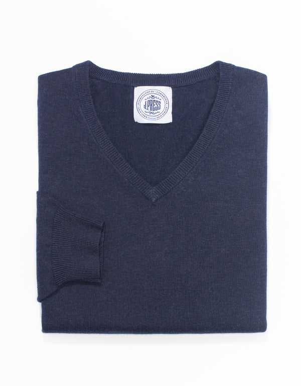 COTTON CASHMERE V-NECK SWEATER-NAVY