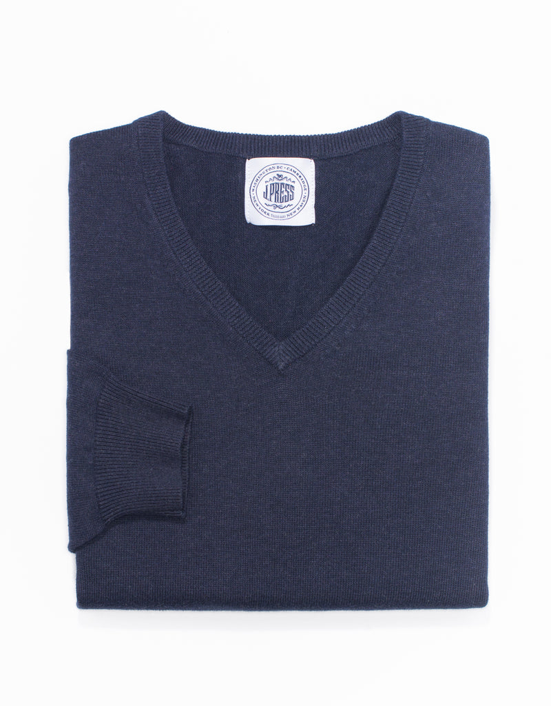 NAVY COTTON CASHMERE V-NECK SWEATER