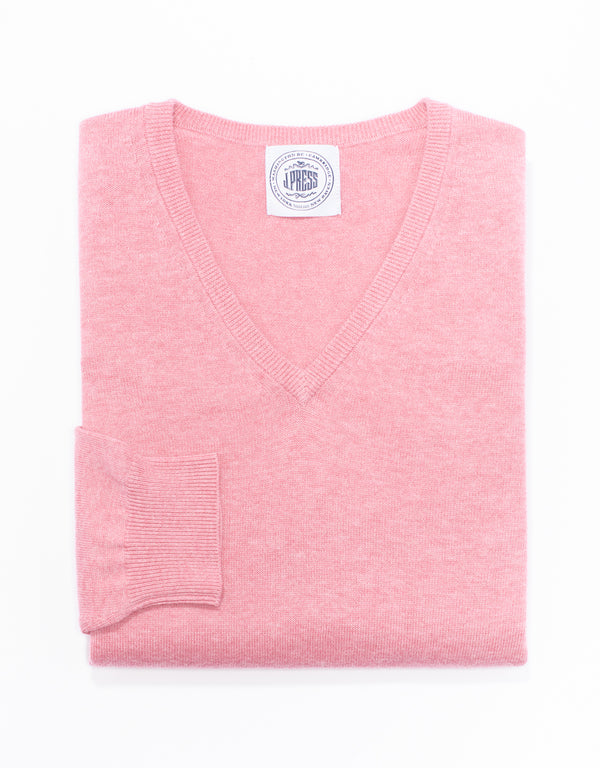 COTTON CASHMERE V-NECK SWEATER - PINK