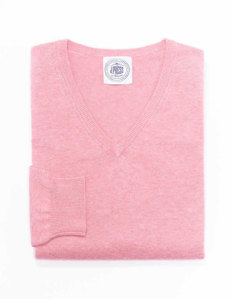 J. PRESS COTTON CASHMERE V-NECK SWEATER - PINK