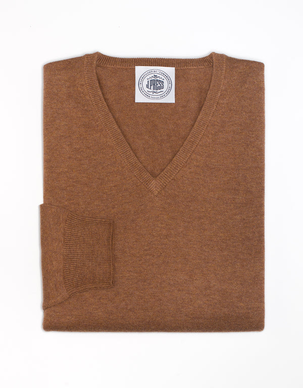 TAN COTTON CASHMERE V-NECK SWEATER