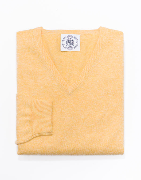 J. PRESS COTTON CASHMERE V-NECK SWEATER - YELLOW