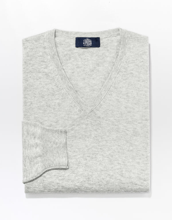 J. PRESS COTTON CASHMERE V-NECK SWEATER - LIGHT GREY