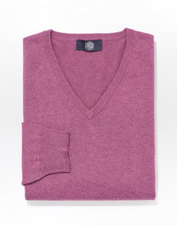 J. PRESS COTTON CASHMERE V-NECK SWEATER - PLUM