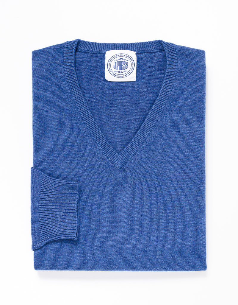 COTTON CASHMERE V-NECK SWEATER - BLUE