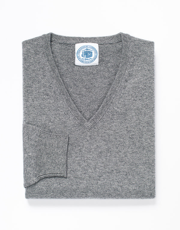 COTTON CASHMERE V-NECK SWEATER - GREY