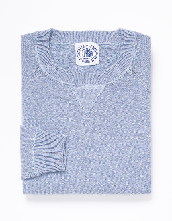 COTTON CASHMERE CREWNECK SWEATSHIRT - BLUE