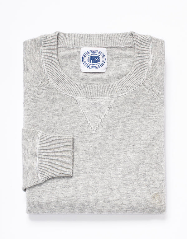 COTTON CASHMERE CREWNECK SWEATSHIRT - GREY