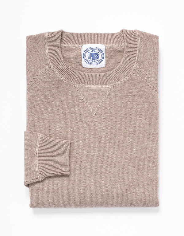 COTTON CASHMERE CREWNECK SWEATSHIRT - TAN