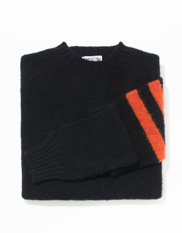 SHAGGY DOG SWEATER BLACK/ORANGE UNIVERSITY STRIPE - TRIM FIT