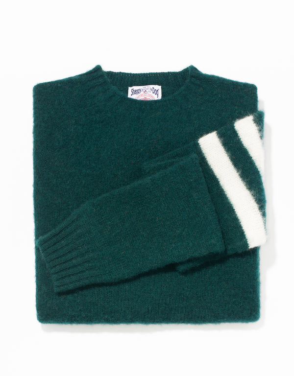 SHAGGY DOG SWEATER GREEN UNIVERSITY STRIPE - TRIM FIT
