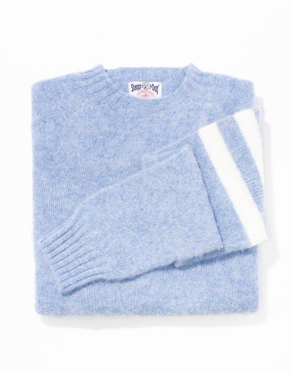 SHAGGY DOG SWEATER POWDER BLUE UNIVERSITY STRIPE - TRIM FIT