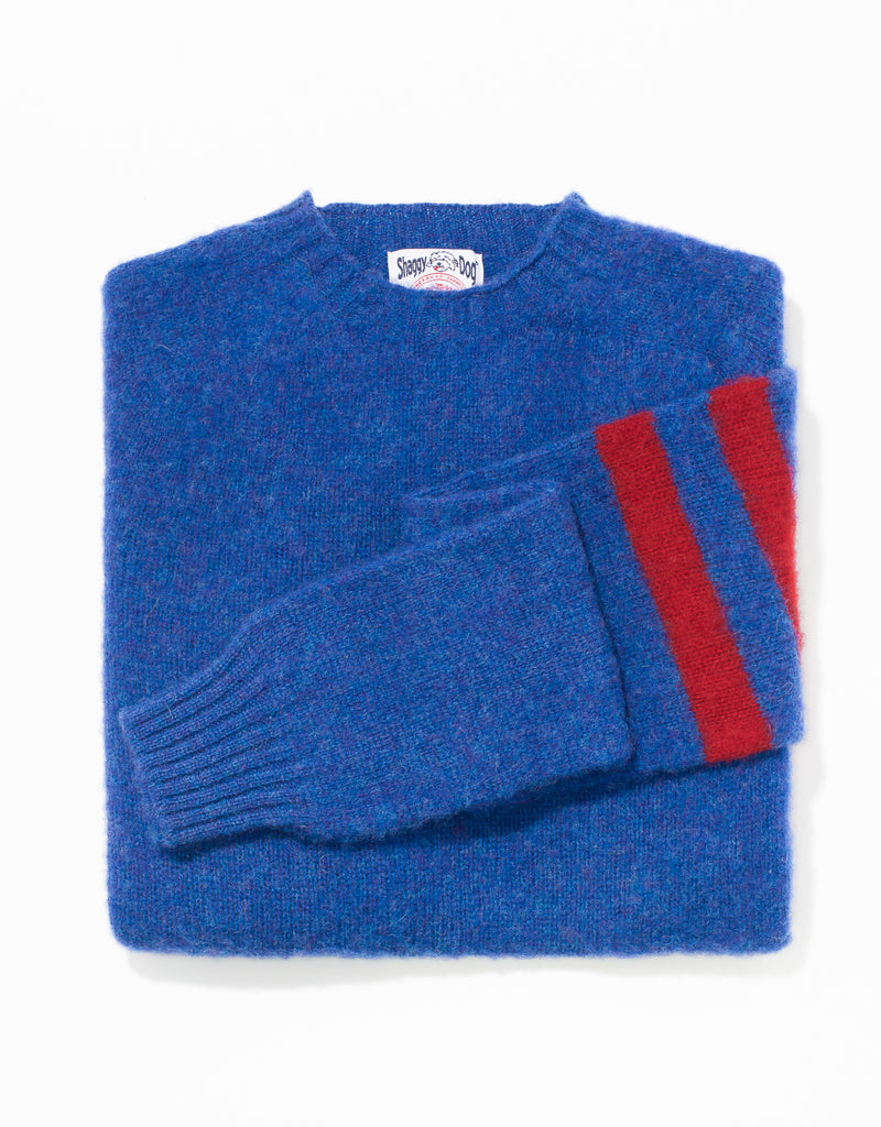SHAGGY DOG SWEATER BLUE/RED UNIVERSITY STRIPE - TRIM FIT