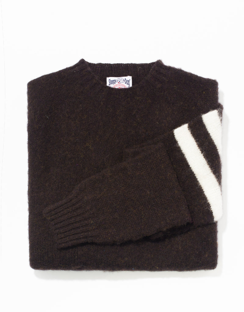 SHAGGY DOG SWEATER BROWN/WHITE UNIVERSITY STRIPE - TRIM FIT