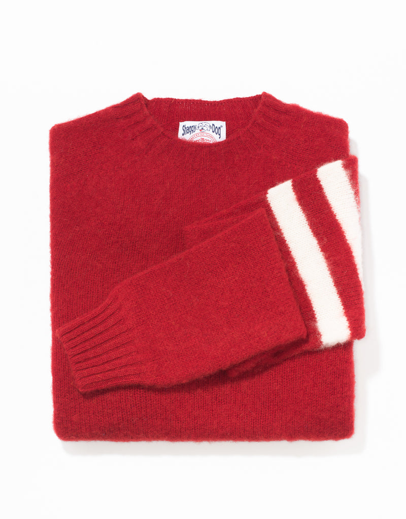 SHAGGY DOG SWEATER RED UNIVERSITY STRIPE - TRIM FIT