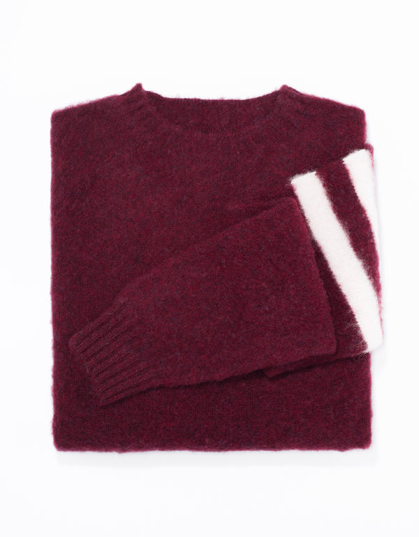 SHAGGY DOG SWEATER BURGUNDY UNIVERSITY STRIPE - TRIM FIT