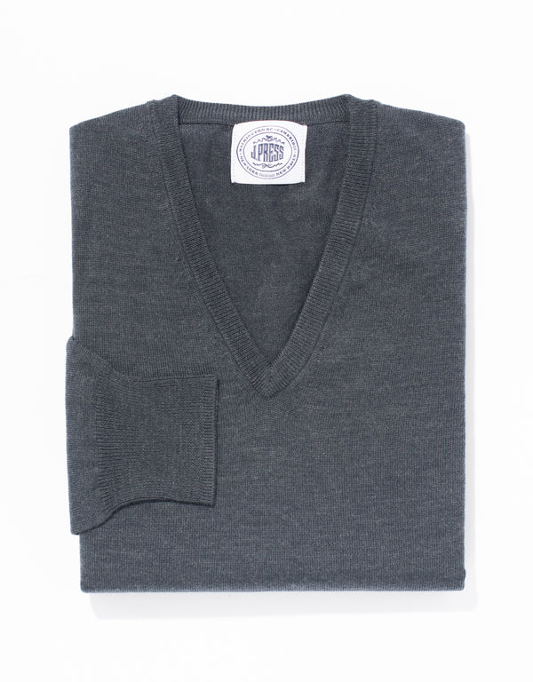 MERINO WOOL V NECK SWEATER - CHARCOAL