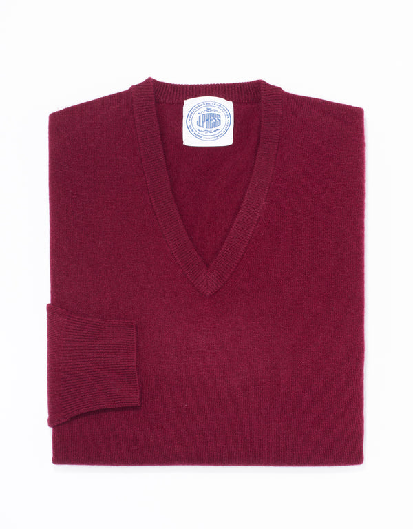 LAMBSWOOL V NECK SWEATER - BURGUNDY