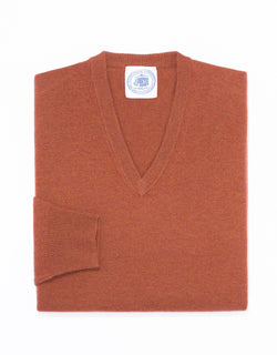 LAMBSWOOL V NECK SWEATER- RUST