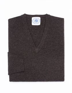 LAMBSWOOL V NECK SWEATER - BROWN