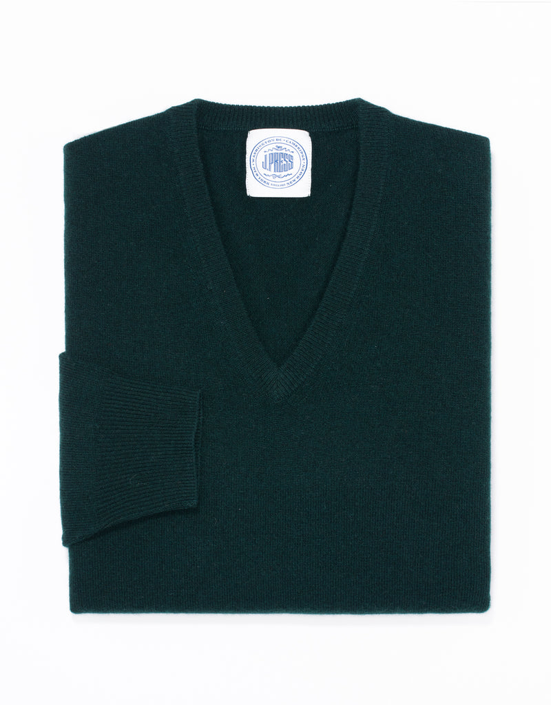 LAMBSWOOL V NECK SWEATER - GREEN